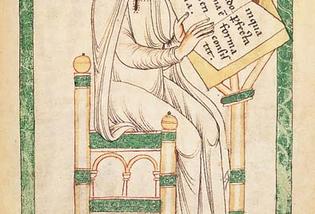 Hugues de Saint-Victor rédige le Didascalicon (Leyde, Bibliothek der Rijkuniversiteit, Ms. Vucanius 45, f° 130)