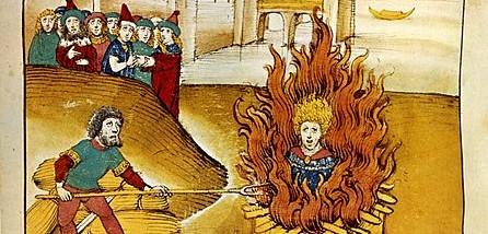 Hus au bûcher. Chronique illustrée de Diebold Schilling le Vieux, 1485